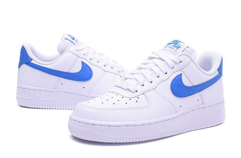 nike air force 1 bleu femme,Nike Air Force 1'07 blanche bleue or femme -  Chaussures Baskets